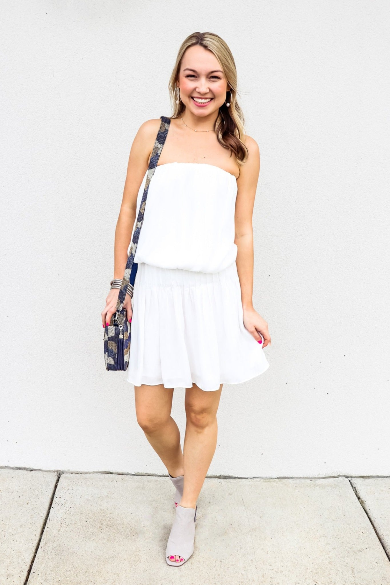 White Smocked Tube Beach Dress - Gabrielle's Biloxi