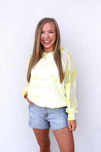 Lemon Artesia Mixed Media Sweatshirt - Gabrielle's Biloxi
