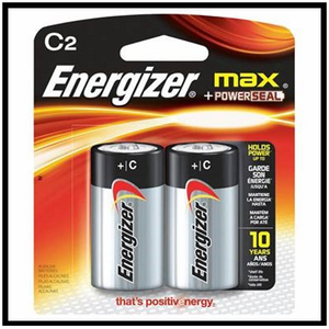 "Energizer ""C"" Battery 2 Pack"