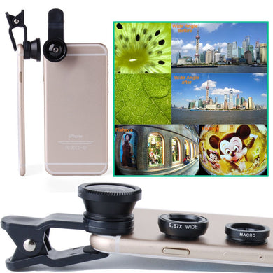 Mobile Phone Lens 3in1 Kit Universal Clip  Wide Angle - Macro - Fish Eye