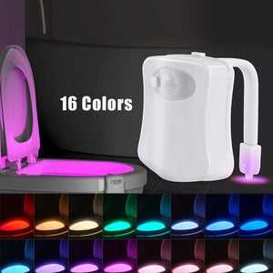 16 Color Toilet Night Light, Motion Sensor Waterproof LED Toilet Bowl Light for Bathroom