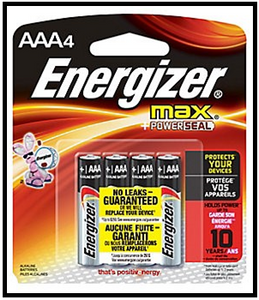 "Energizer ""AAA"" Battery 4 Pack"