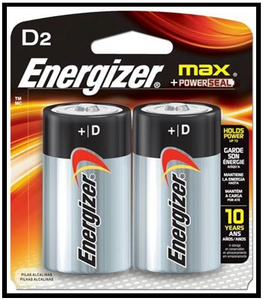 "Energizer ""D"" Battery 2 Pack"