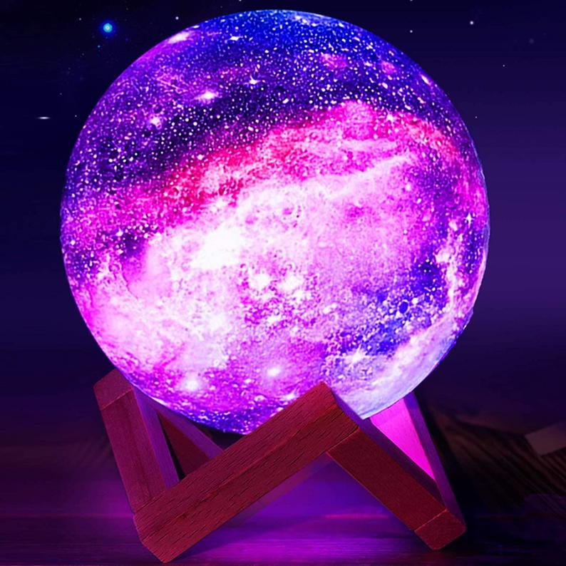 Retro 16 Color LED Night Light 3D Printing GALAXY Moon Lamp