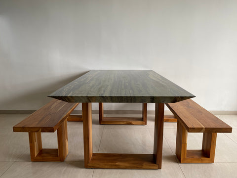 Razor Edge Stone Dining Table with Wood Bench Seats