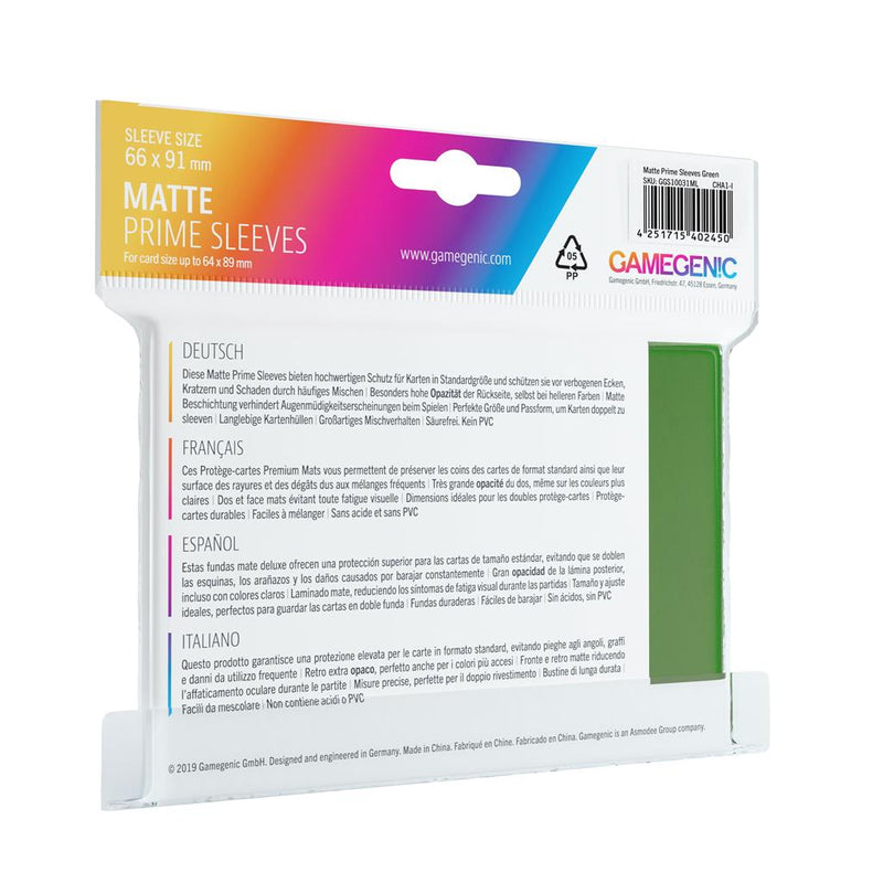 GameGenic SLEEVES Pack Matte Prime Green (100) - TCG Online.