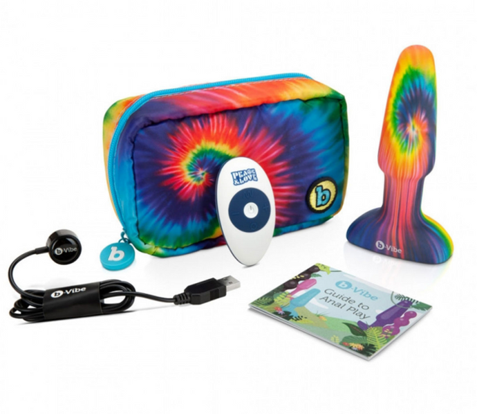 B-Vibe Peace & Love Tie Dye Rimming Plug Kit