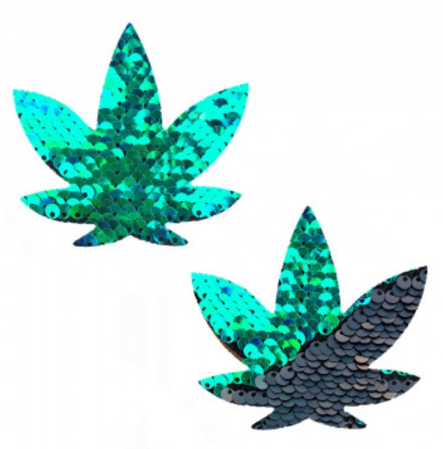 Mermaid Green to Black Sequin Pot Leaf Pasties