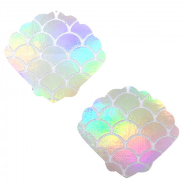 White Holographic Mermaid Shell Nipztix Pasties