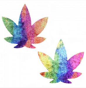 Velvet Crush Multicolor Weed Leaf Nipztix Pasties