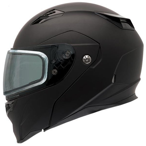 Bell Revolver Evo Rally Matte Black Modular Snowmobile Helmet with Dual Shield