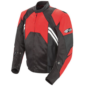 Joe Rocket 'Radar' Mens Red/Black Leather Motorcycle Jacket
