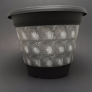 Premium IML Decorated Patio Pot - Metal Swirls
