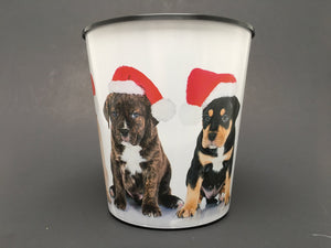 Premium IML Decorated Patio Pot - Christmas Dogs