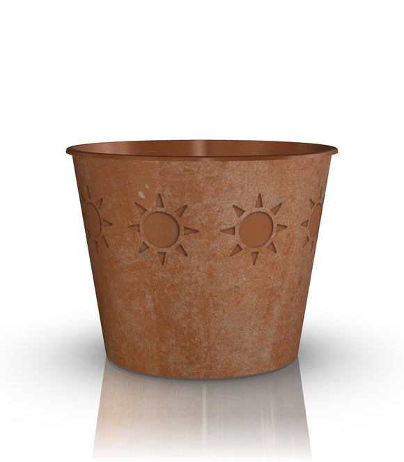 Lightweight Terra Cotta Sunbust Grow or Cover Pot