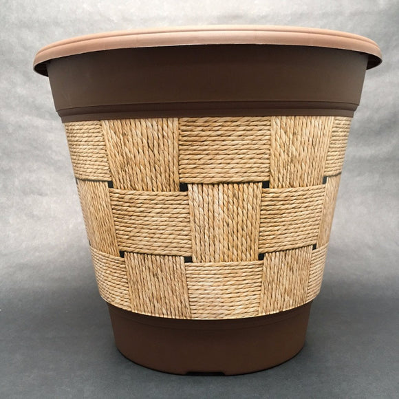 Premium IML Decorated Patio Pot - Woven Twine