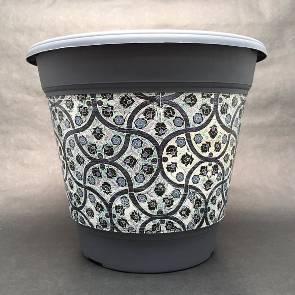 Premium IML Decorated Patio Pot - Blue Flowers
