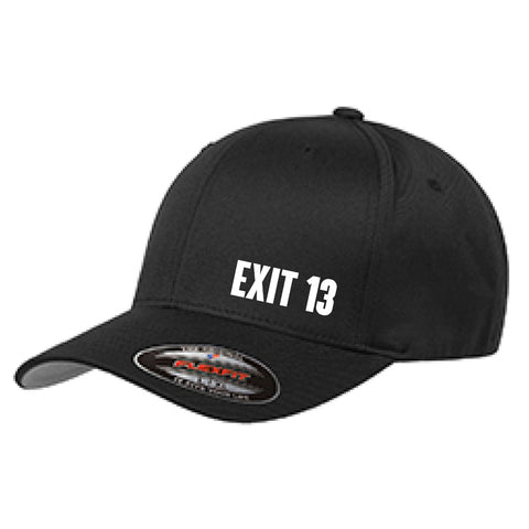 Exit 13 Black Flexfit Hat (Princeton back)