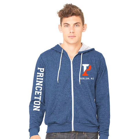 BLUE MARBLE UNISEX FLEECE FULL-ZIP HOODIE