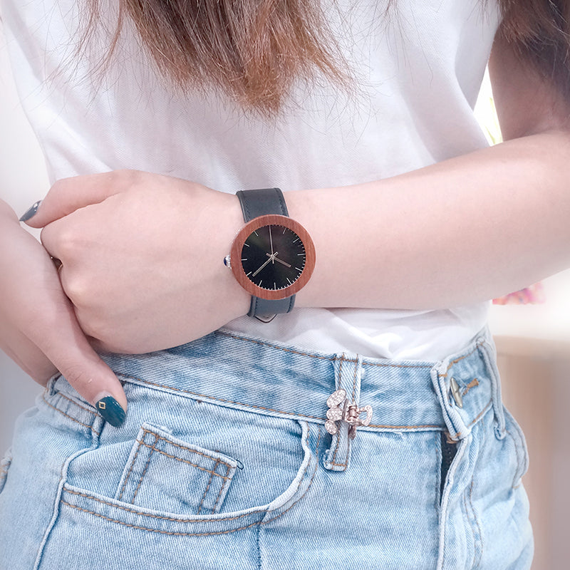 C-J01 Quartz BOBO BIRD Women Waterproof Natural Red Wooden Watch - rightwood