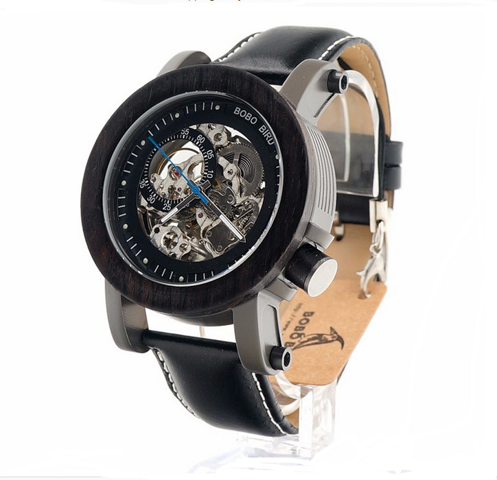 Bobo Bird Stainless Steel Mechanical  Watch with Wood Box