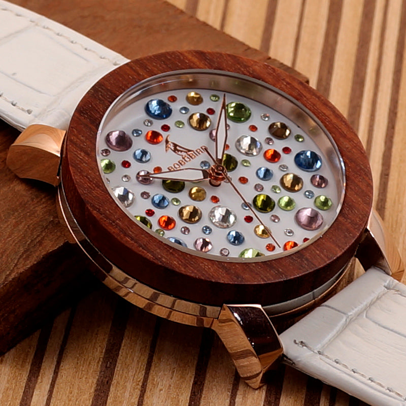 C-J04 BOBO BIRD Women Wooden Watch with White Leather Strap