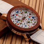 C-J04 BOBO BIRD Women Wooden Watch with White Leather Strap - rightwood