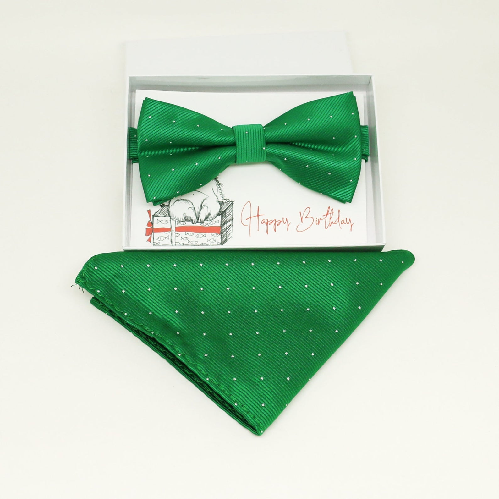 Green bow tie & Pocket Square, Best man Groomsman Man of honor ring breaer bow, birthday gift, Congrats grad, handkerchief, Pocket Square