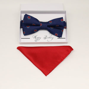 Navy bow tie & Red Pocket Square, Best man Groomsman Man of honor ring breaer bow, birthday gift, Ladybug bow tie, handkerchief, Lucky bow