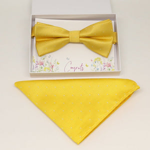 Yellow bow tie & Pocket Square, Best man Groomsman Man of honor ring bearer bow, birthday gift, Congrats grad, handkerchief, Yellow kids bow