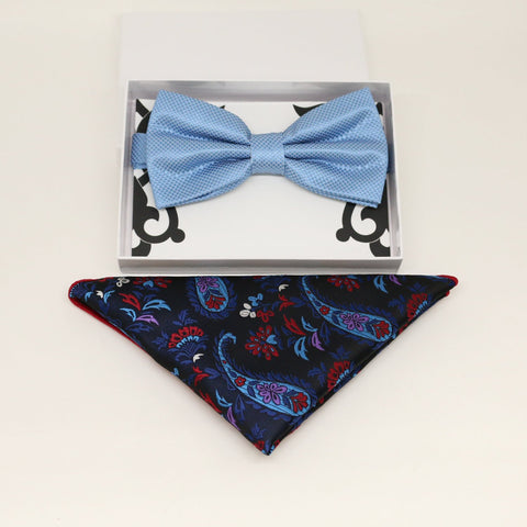 Dusty blue bow tie & paisley Pocket Square, Best man Groomsman Man of honor ring breaer bow tie, birthday gift, Congrats grad, handkerchief