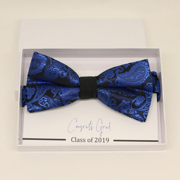 Royal blue bow tie, Paisley bow tie, Congrars grad, Congrats, Happy birthday, Best man request gift, Groomsman bow,  Thank you, Royal blue