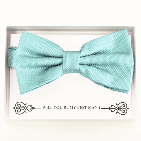 Aqua bow tie Best man Groomsman Man of honor Ring Bearer bow tie request gift, Kids bow Birthday congrats cards, Adjustable Pre tied