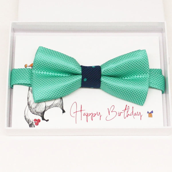 Turquoise kids Bow Ties, ring bearer bow tie, Happy Birthday card, congrats, congrats grad, Ring bearer request gift, Turquoise kids bow