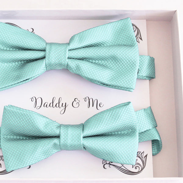 Aqua blue Bow tie set daddy son, Daddy and me gift, Grandpa and me, Kids adult bow tie, Handmade Adjustable pre tied bow