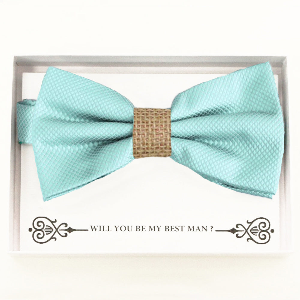 Aqua blurlap bow tie Best man Groomsman Man of honor Ring Bearer bow request gift Adjustable Pre tied Birthday congrats cards handmade bow