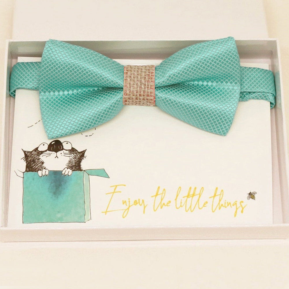Aqua burlap bow tie Best man Groomsman Man of honor ring bearer request gift, Kids adult bow, Adjustable Pre tied Handmade, Aqua blue bow