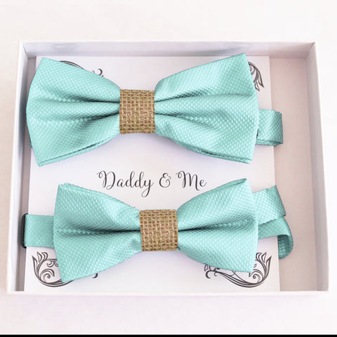 Aqua burlap Bow tie set for daddy and son, Daddy me gift set, Grandpa and me, Father son match, Aqua kids Toddler bow handmade