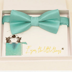 Aqua blue bow tie Best man Groomsman Man of honor ring bearer request gift, Kids adult bow, Adjustable Pre tied, Aqua blue bow