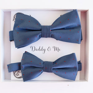 Blue red polka dots Bow tie set Kids Adult bow tie Daddy me Father son match, Country blue, kids bow Adjustable pre tied, High quality