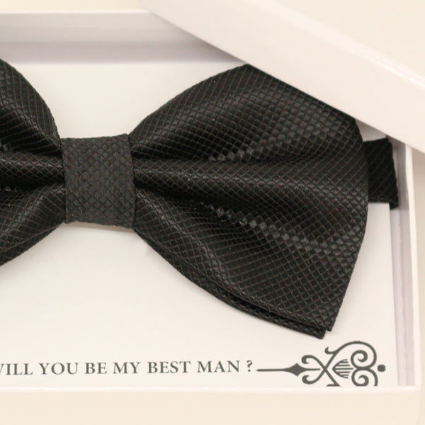 Black bow tie, Best man request gift, Groomsman bow tie, Ring Bearer black bow tie, Man of honor gift, baby announcement, toddler bow tie