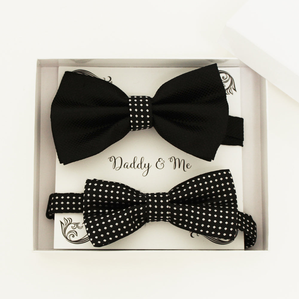 Black and white Bow tie set for daddy and son, Daddy me gift set, Grandpa and me, Father son matching, black white Kids bow, daddy me gift