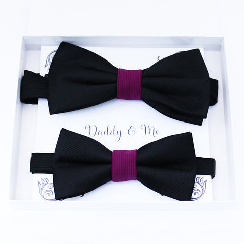 Black and berry Bow tie set daddy son, Daddy and me gift Grandpa and me, Father son matching, Kids bow tie, Kids adult bow tie, High quality