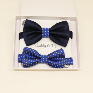 Royal blue Navy Bow tie set for daddy and son, blue bow tie, Daddy me gift set, Father son match , Royal blue kids bow, Daddy and me gift