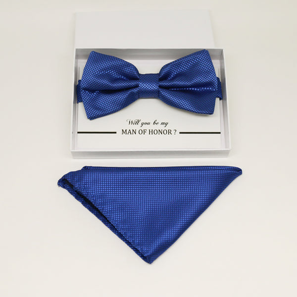 Royal blue bow tie & Royal blue Pocket Square, Best man Groomsman Man of honor ring breaer bow, birthday gift, Congrats grad, handkerchief