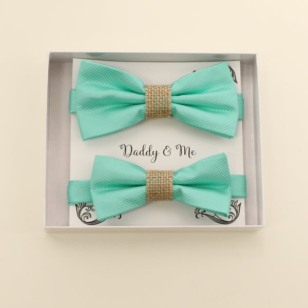 Turquoise burlap Bow tie set for daddy and son, Daddy me gift set, Grandpa and me, Father son match, turquoise kids Toddler bow, handamde