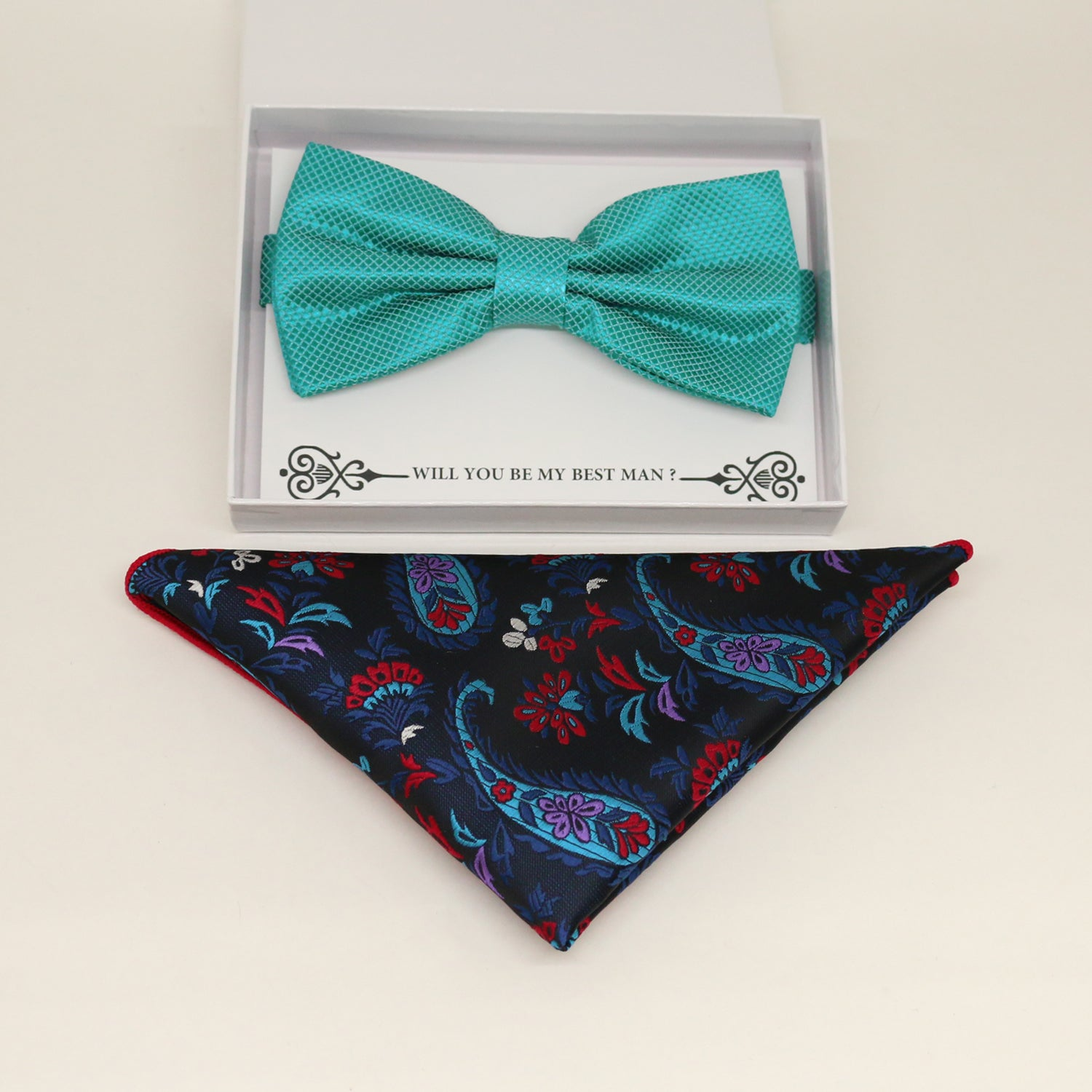 Teal blue bow tie & paisley Pocket Square, Best man Groomsman Man of honor ring breaer bow tie, birthday gift, Congrats grad, handkerchief