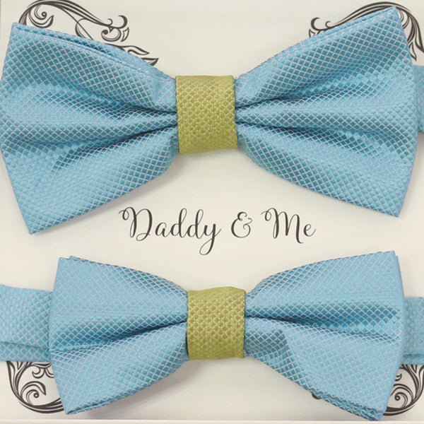 Dusty blue green Bow tie set for daddy and son, Daddy me gift set, Father son matching, daddy me bow, handmade blue bow tie for kids