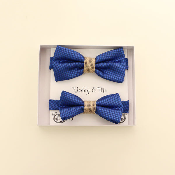 Royal blue burlap Bow tie set for daddy and son, Daddy me gift set, Grandpa and me, Father son match, Royal Blue kids Toddler bow, handmade