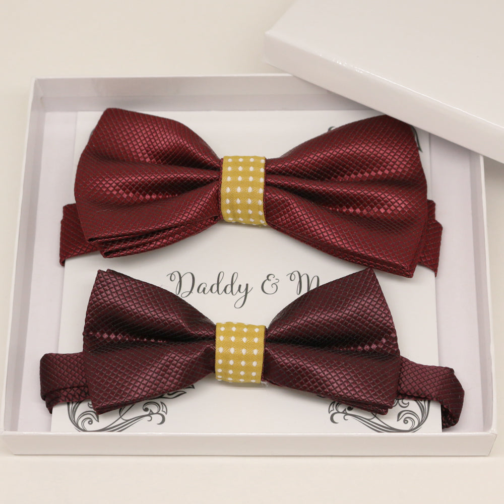 Burgundy Marigold Bow tie set for daddy and son, Daddy and me gift set, Grandpa me, Father son match, Toddler bow tie, Marigold bow tie